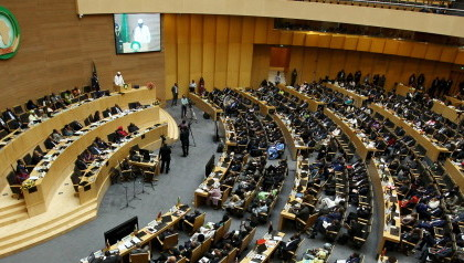 Chad's President Idriss Deby addresses delegates during the 26th Ordinary Session of the Assembly of the African Union at the AU headquarters in Addis Ababa, Ethiopia